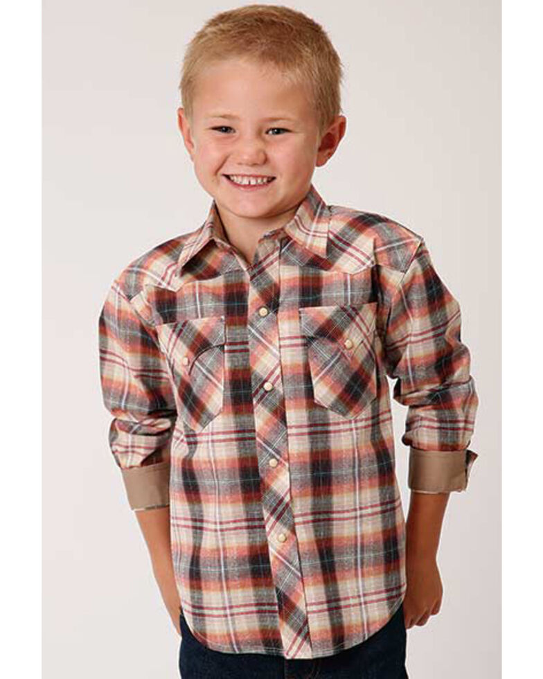 West Made Boys' Rope Plaid Long Sleeve Western Shirt , Mustard, hi-res