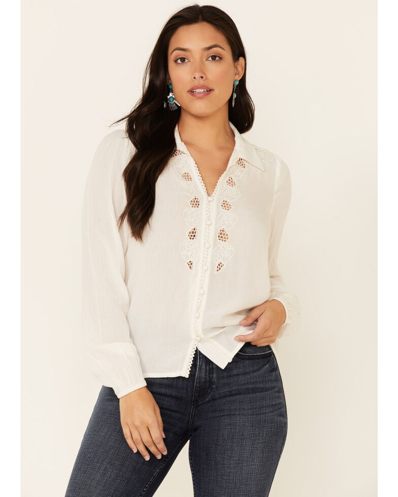 Idyllwind Women's Every Rose Long Sleeve Top , Off White, hi-res
