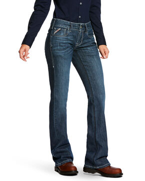 Ariat Women's FR Mid-Rise Durastretch Duralight Ella Jean, Indigo, hi-res