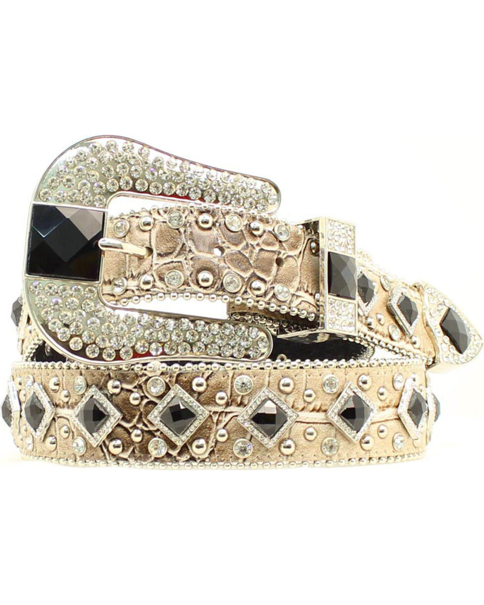 Nocona Women's Tan Croc Embellished Belt, Gold, hi-res