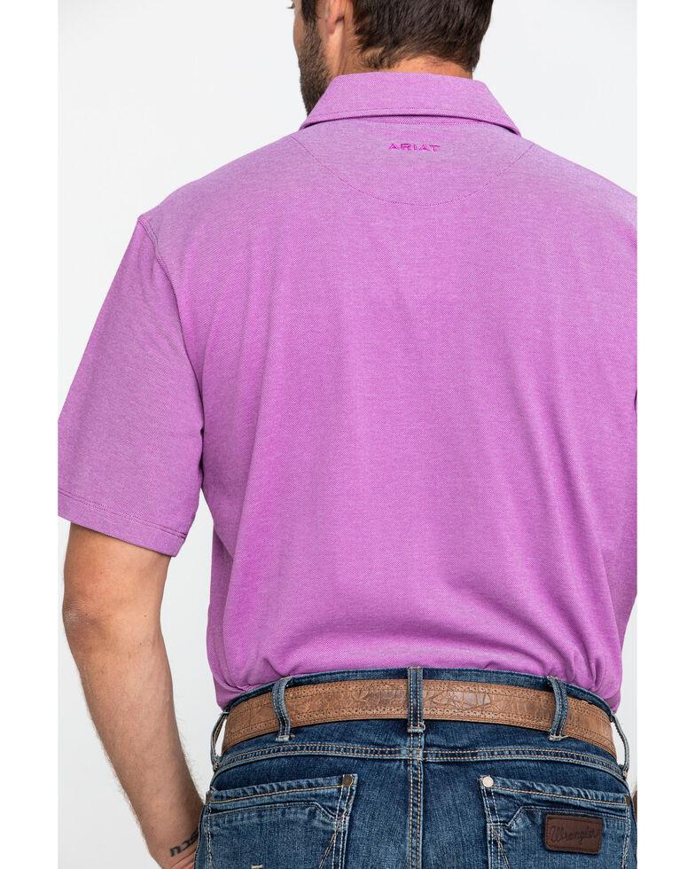 Ariat Men's Blue Pique TEK Short Sleeve Polo Shirt , Blue, hi-res