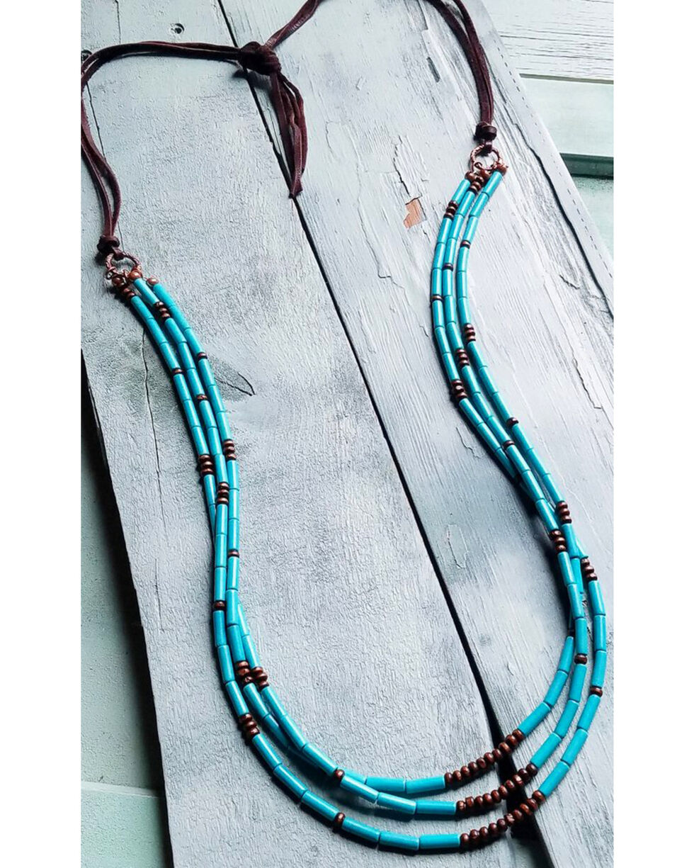 Jewelry Junkie Women's Triple Strand Necklace , Turquoise, hi-res
