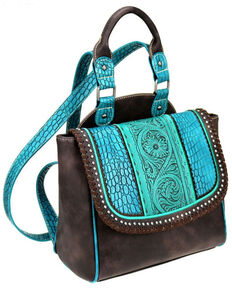Trinity Ranch Women's Turquoise Tooled leather Backpack, Turquoise, hi-res