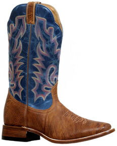 Boulet Men's Stockman Cowboy Boots - Wide Square Toe, Brown, hi-res