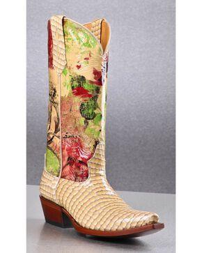 Johnny Ringo Women's Gavial Crco Print Western Boots, Cream, hi-res