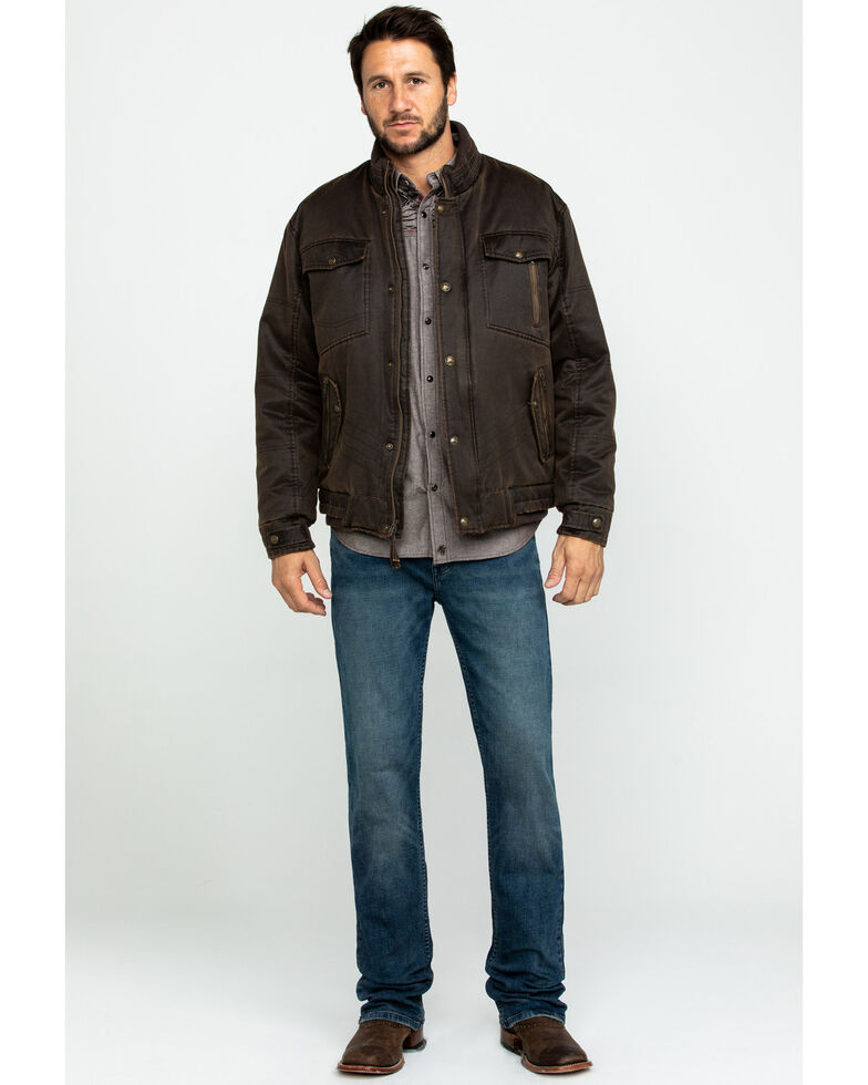 Cripple Creek Men's Enzyme Washed Storm Flap Western Jacket , Brown, hi-res