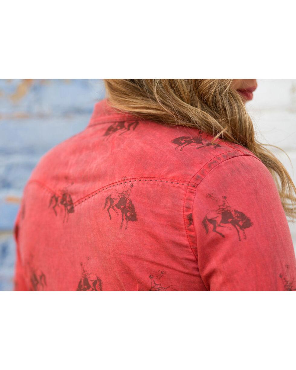 Ryan Michael Women's Bucking Horse Print Shirt , Rust Copper, hi-res