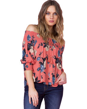 "Miss Me Women's ""Nothing But Roses"" Off The Shoulder Top, Coral, hi-res"