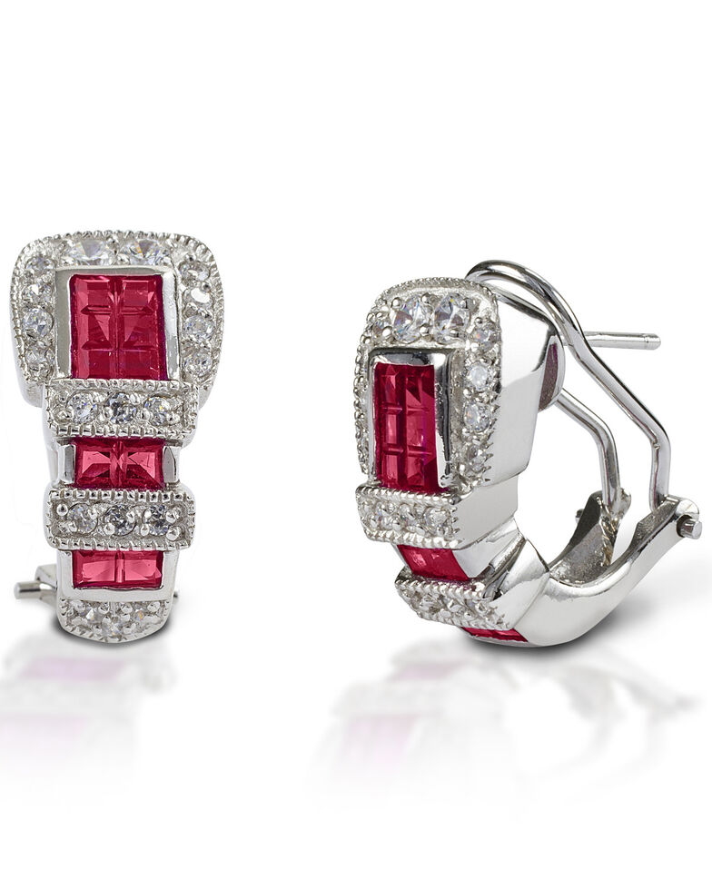 Kelly Herd Women's Red Ranger Style Buckle Earrings , Silver, hi-res