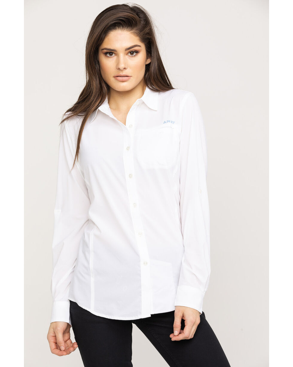 Ariat Women's White VentTek II Long Sleeve Shirt, White, hi-res