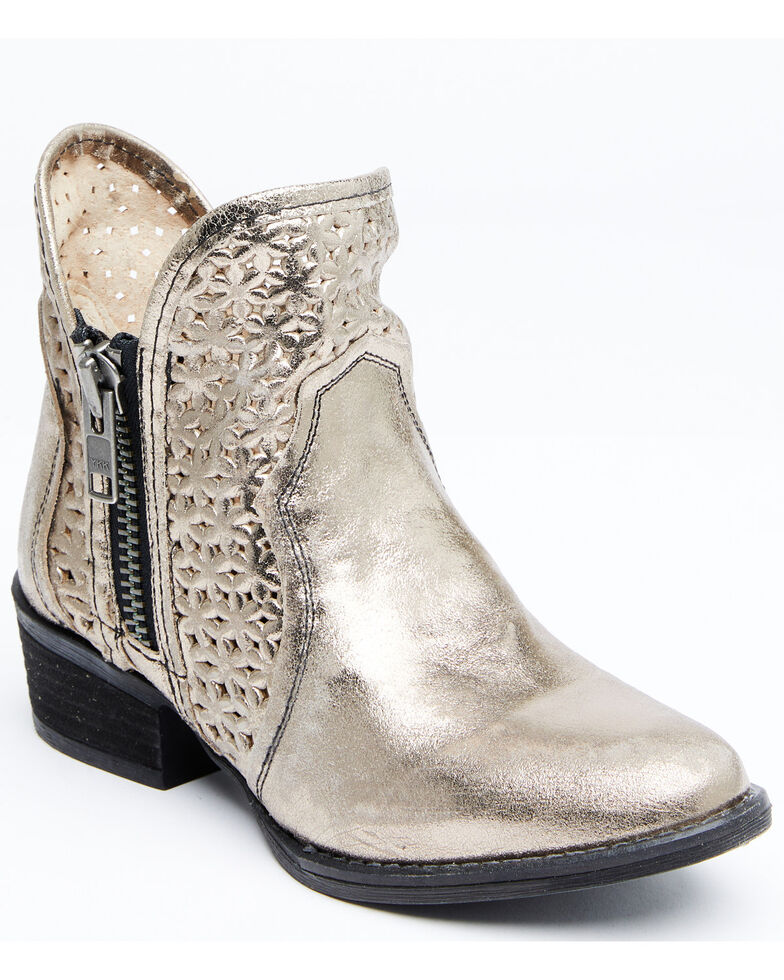 Circle G Women's Silver Cut Out Fashion Booties - Round Toe, Silver, hi-res