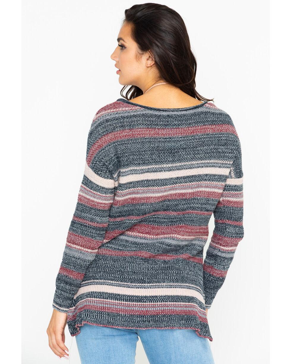 Shyanne Women's Stripe Marbled Lace Up Neck Sweater, Black, hi-res