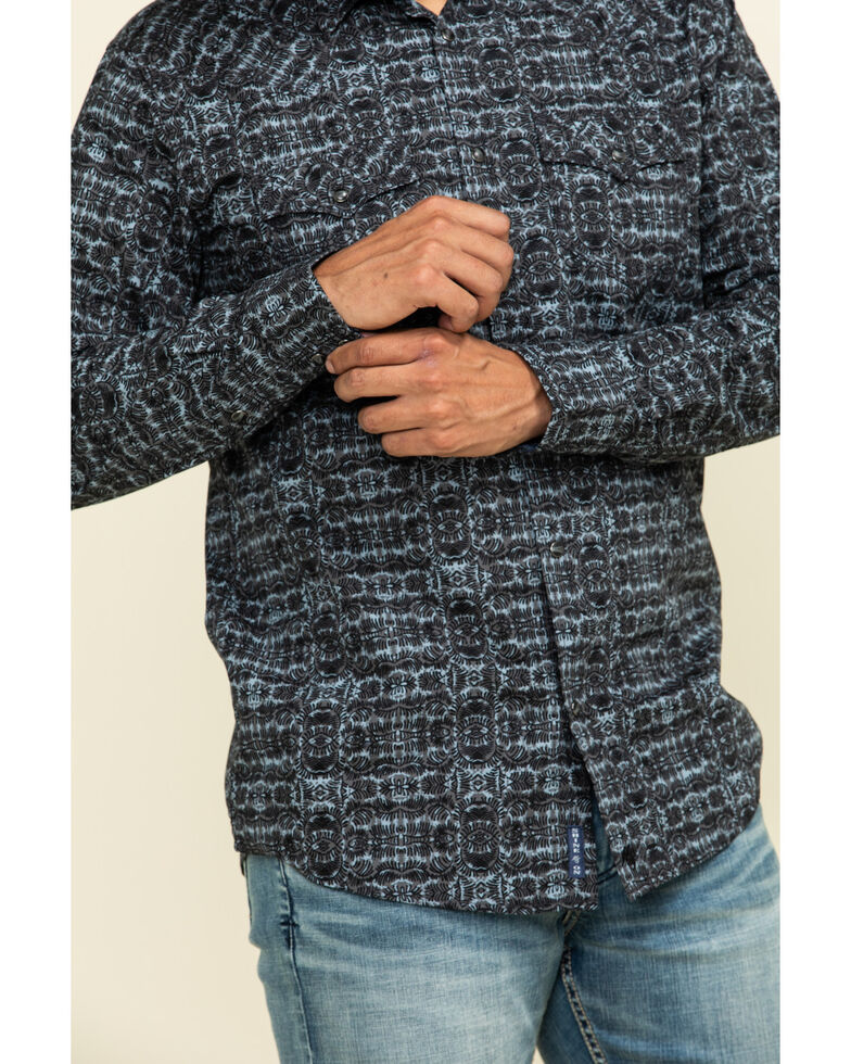 Moonshine Spirit Men's Grayson Geo Print Long Sleeve Western Shirt , Charcoal, hi-res