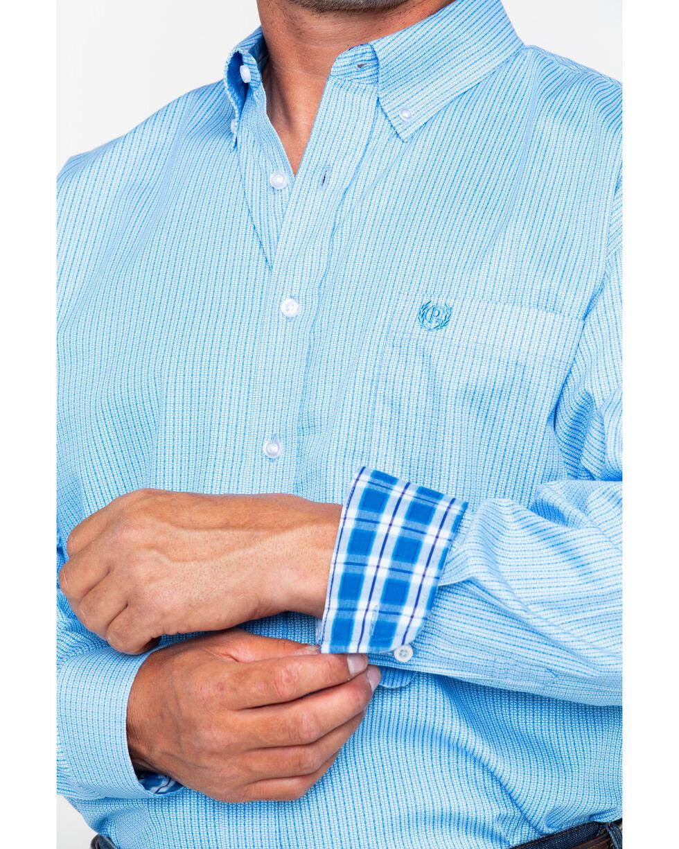 Panhandle Men's Circle Geo Print Long Sleeve Western Shirt , Blue, hi-res