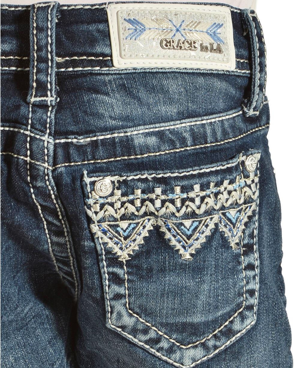 Grace in LA Girls' Applique Trimmed Shorts , Blue, hi-res