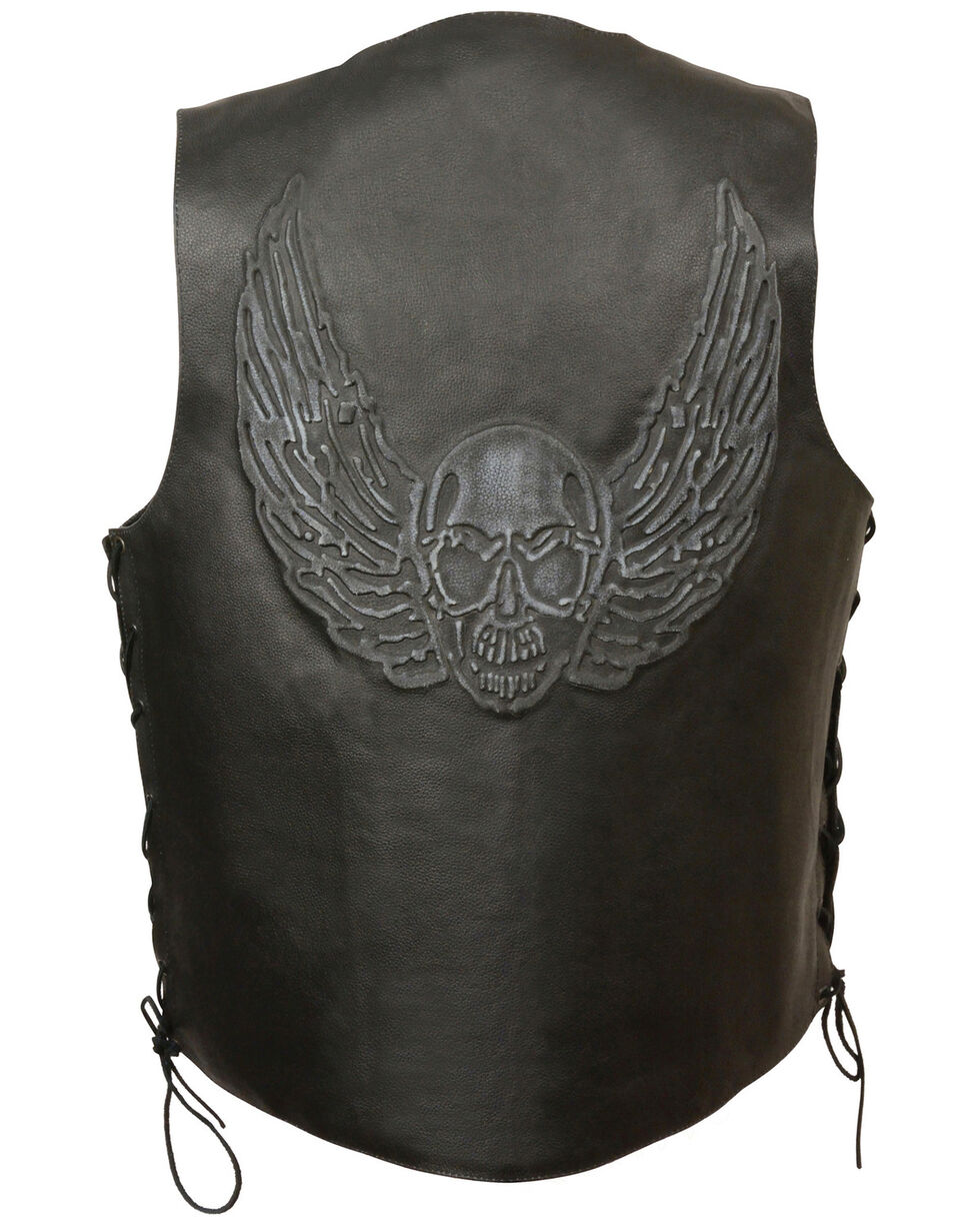 Milwaukee Leather Men's Side Lace Skull & Wings Vest - 4X, , hi-res