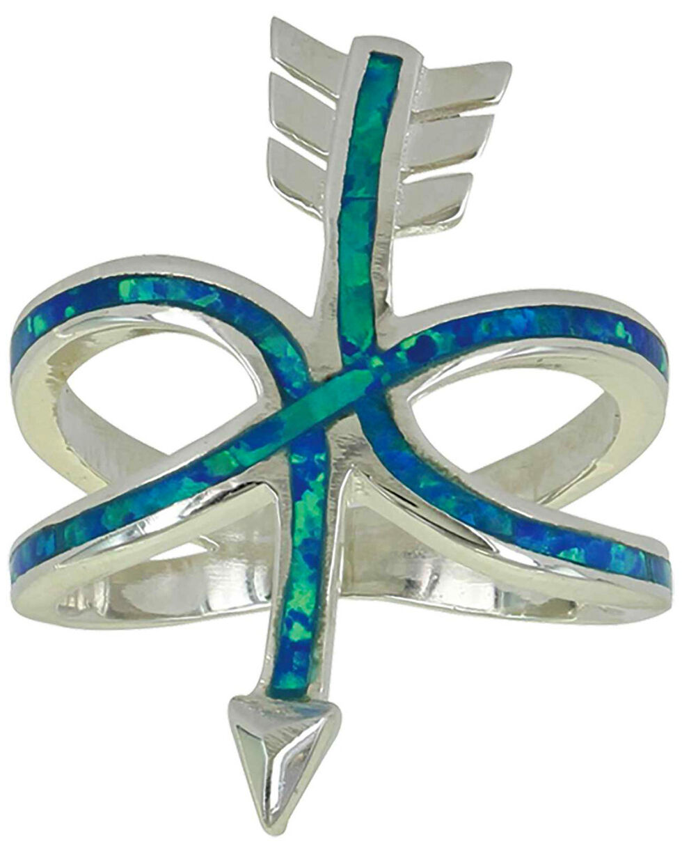 Montana Silversmiths Women's Any Which Way Arrow Opal Ring - Size 8, Silver, hi-res