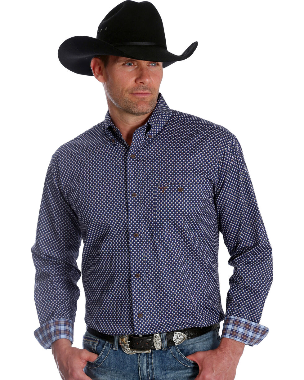 Wrangler 20X Men's Polka Dot Blue Advanced Comfort Competition Long Sleeve Western Shirt , Blue, hi-res
