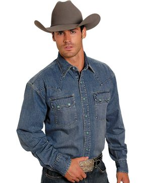 Stetson Denim Snap Western Shirt, Denim, hi-res