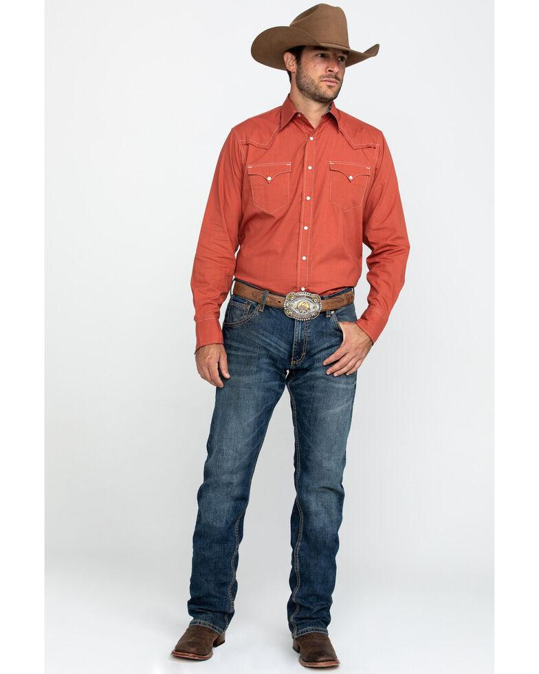 Roper Men's West Made Orange Solid Long Sleeve Western Shirt , Orange, hi-res