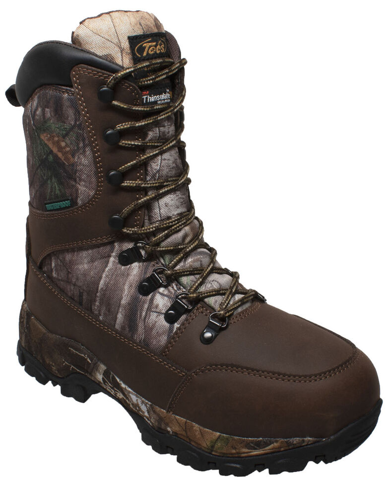 Tecs Men's Brown Camo Lace-Up Work Boots - Soft Toe, Brown, hi-res