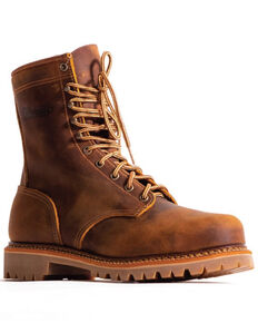 Silverado Men's Tan Lace-Up Work Boots - Steel Toe, Tan, hi-res
