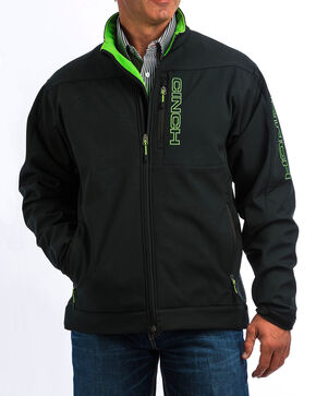 Cinch Men's Black/Green Bonded Jacket, Black, hi-res