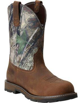 Ariat Men's Groundbreaker Pull-On ST Work Boots, Brown, hi-res