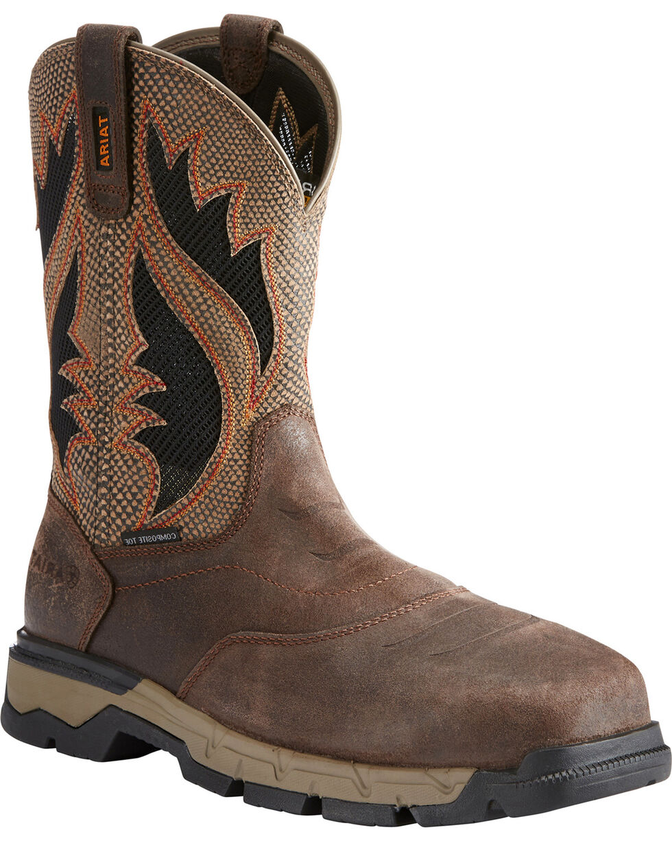 Ariat Men's Rebar Western VentTEK Work Boots - Comp Toe, Chocolate, hi-res