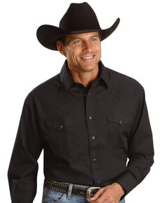 Wrangler Men's White Solid Broadcloth Long Sleeve Western Shirt , Black, hi-res