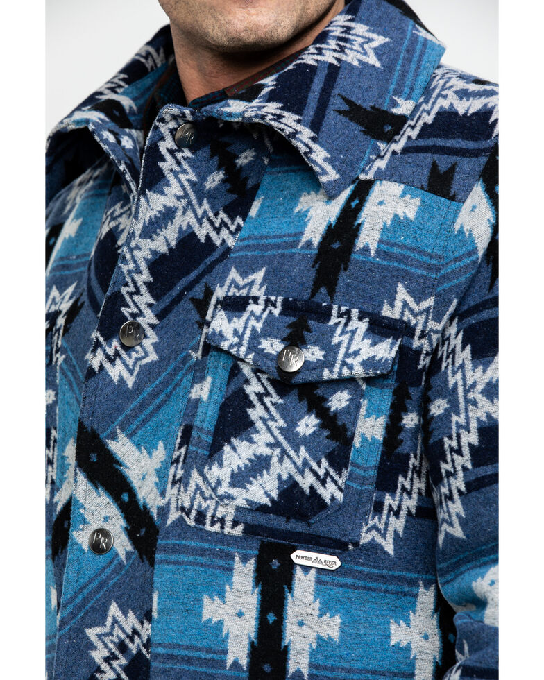Powder River Outfitters Men's Aztec Wool Jacquard Jacket , Blue, hi-res