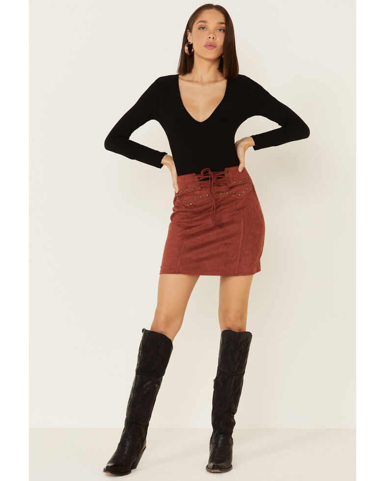 Panhandle Women's Rust Suede Lace-Up Skirt, Rust Copper, hi-res