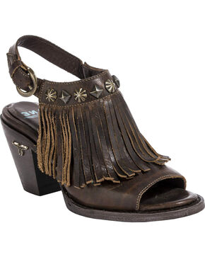 Lane Women's Cody Backstrap Fringe Sandals, Brown, hi-res
