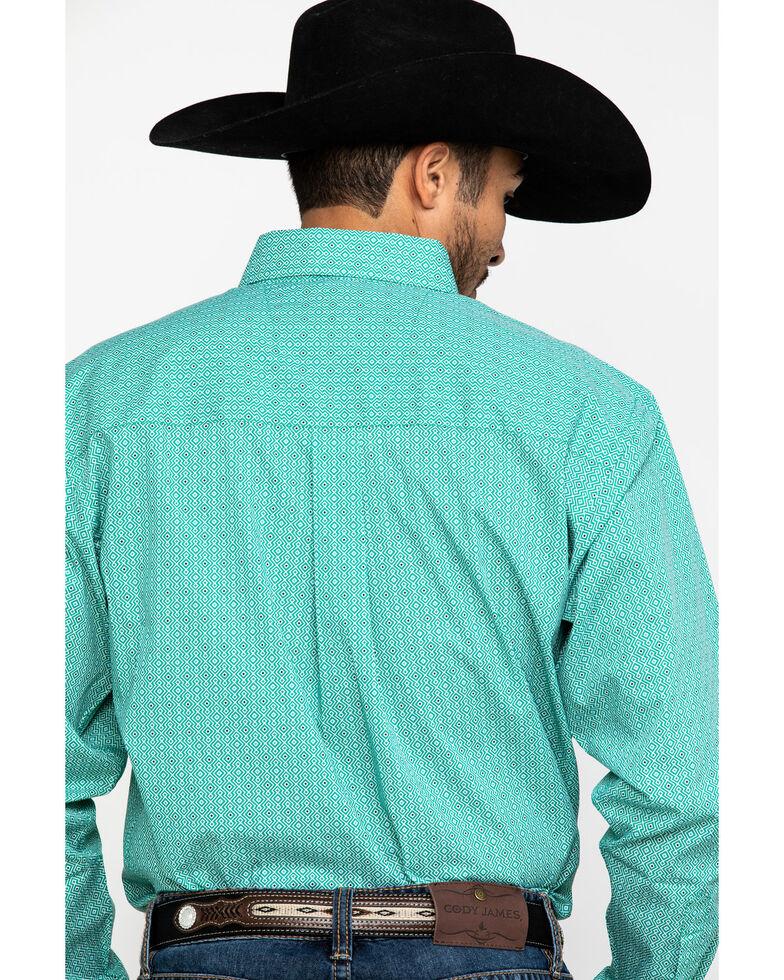 Wrangler Men's Classic Green Geo Print Long Sleeve Western Shirt , Green, hi-res