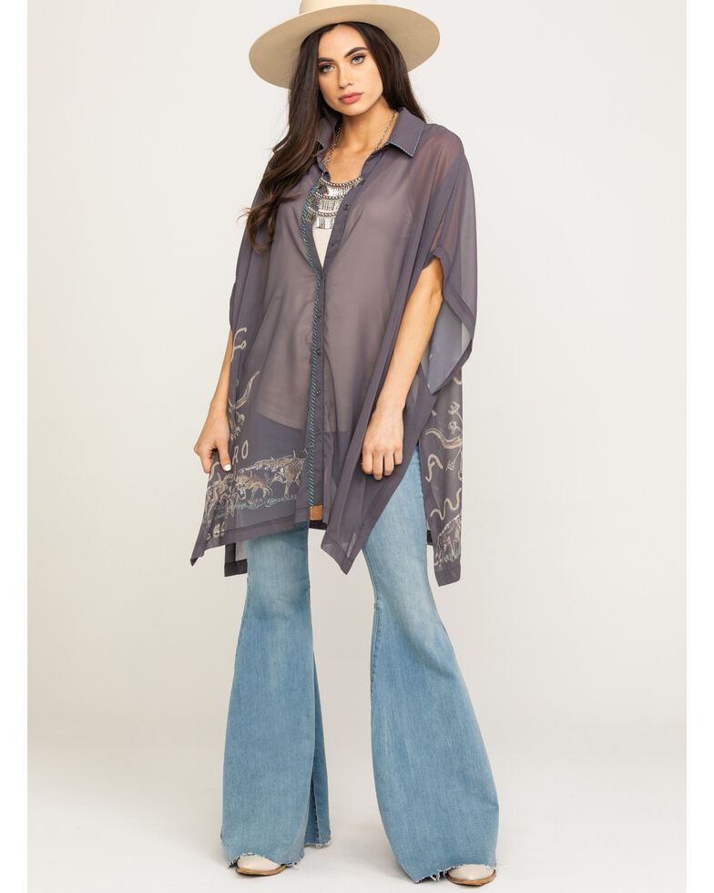 Double D Ranchwear Women's Branding Season Poncho, Grey, hi-res