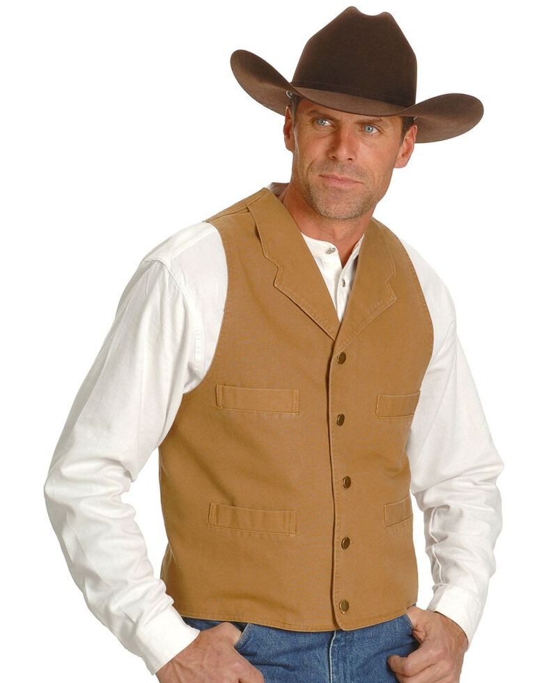 Rangewear by Scully Frontier Canvas Vest, Brown, hi-res