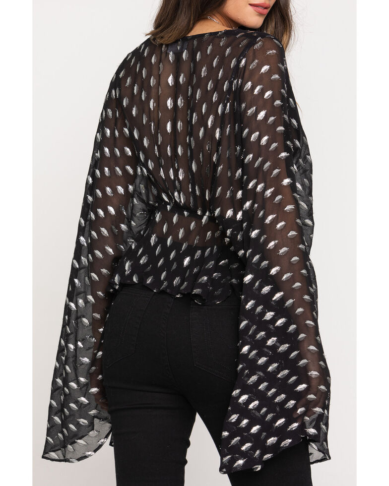 Band of Gypsy Women's Black Soiree Bell Sleeve Top , Black, hi-res