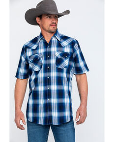 Ely Cattleman Men's Navy Plaid Short Sleeve Western Shirt , Navy, hi-res