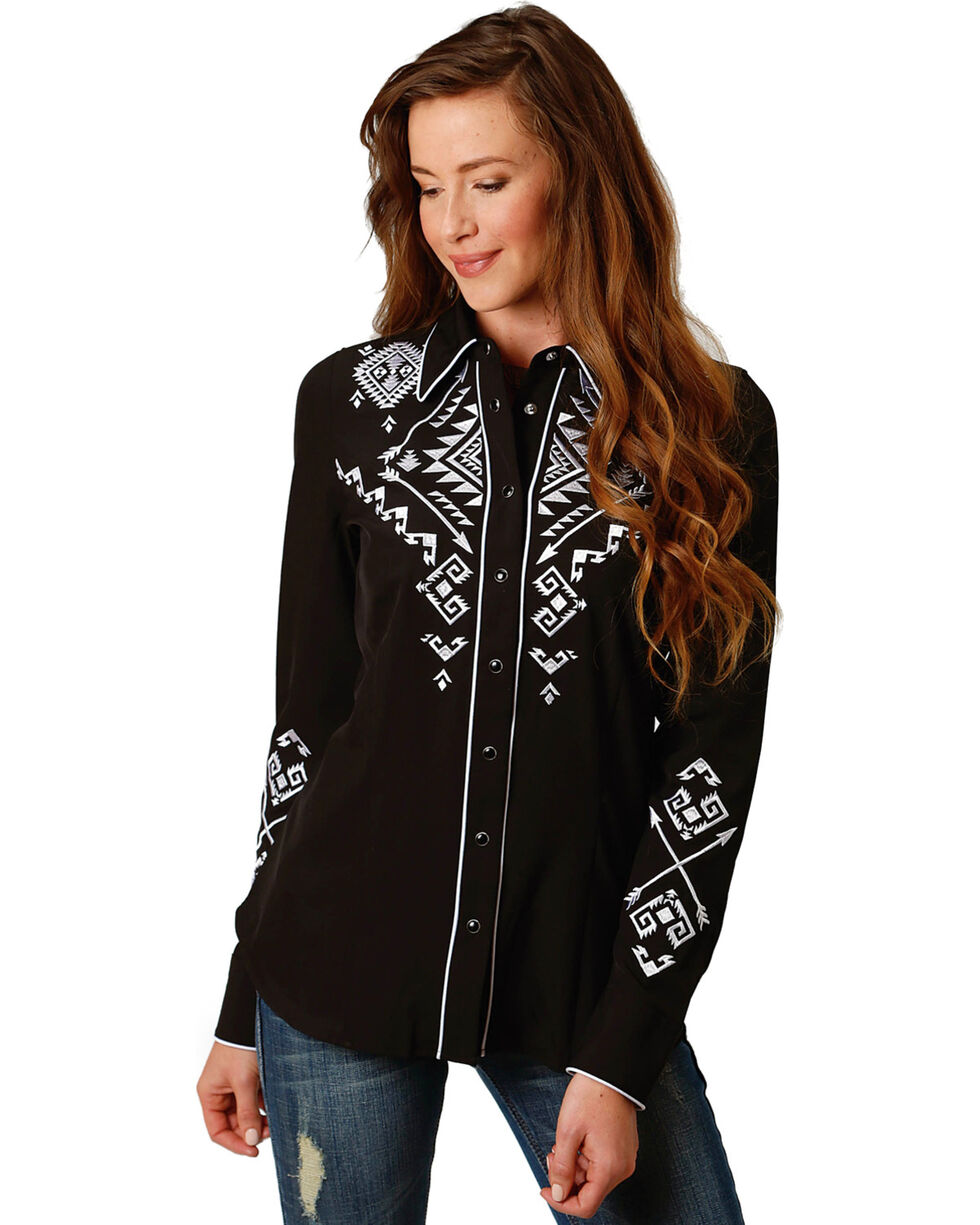 Roper Women's Retro Embroidery Long Sleeve Western Snap Shirt, Black, hi-res