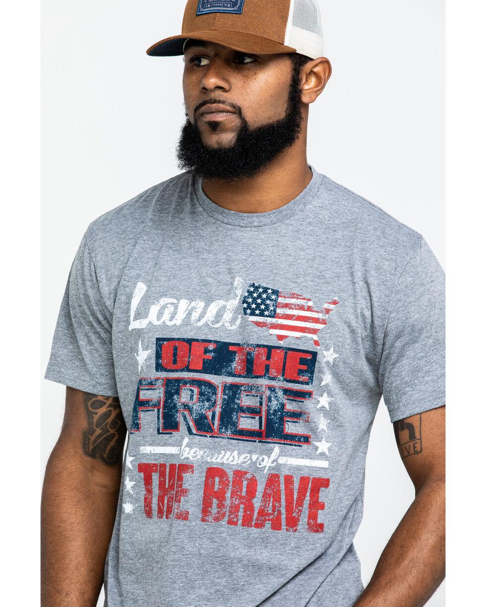 Bullseye Ventures Men's Land Of The Free Graphic Shirt , Grey, hi-res