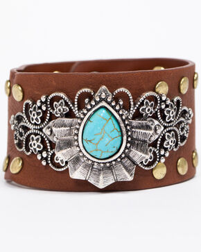 Shyanne Women's Emma Rae Turquoise Fan Wide Leather Cuff, Brown, hi-res