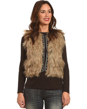 Shyanne Women's Faux Fur Cropped Vest, Brown, hi-res