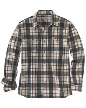 Carhartt Men's Hubbard Long Sleeve Plaid  Flannel Work Shirt - Big & Tall, Black, hi-res