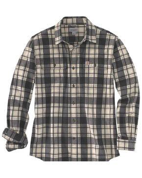 Carhartt Men's Hubbard Long Sleeve Plaid  Flannel Work Shirt - Big & Tall, Black, hi-res