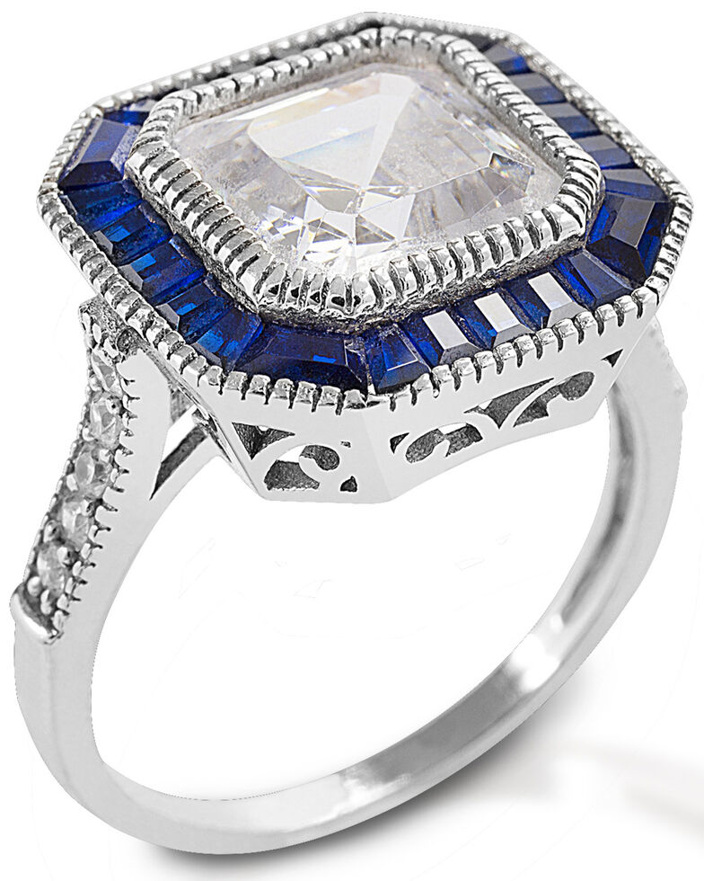 Kelly Herd Women's Large Asscher Cut Blue Spinel Ring , Silver, hi-res