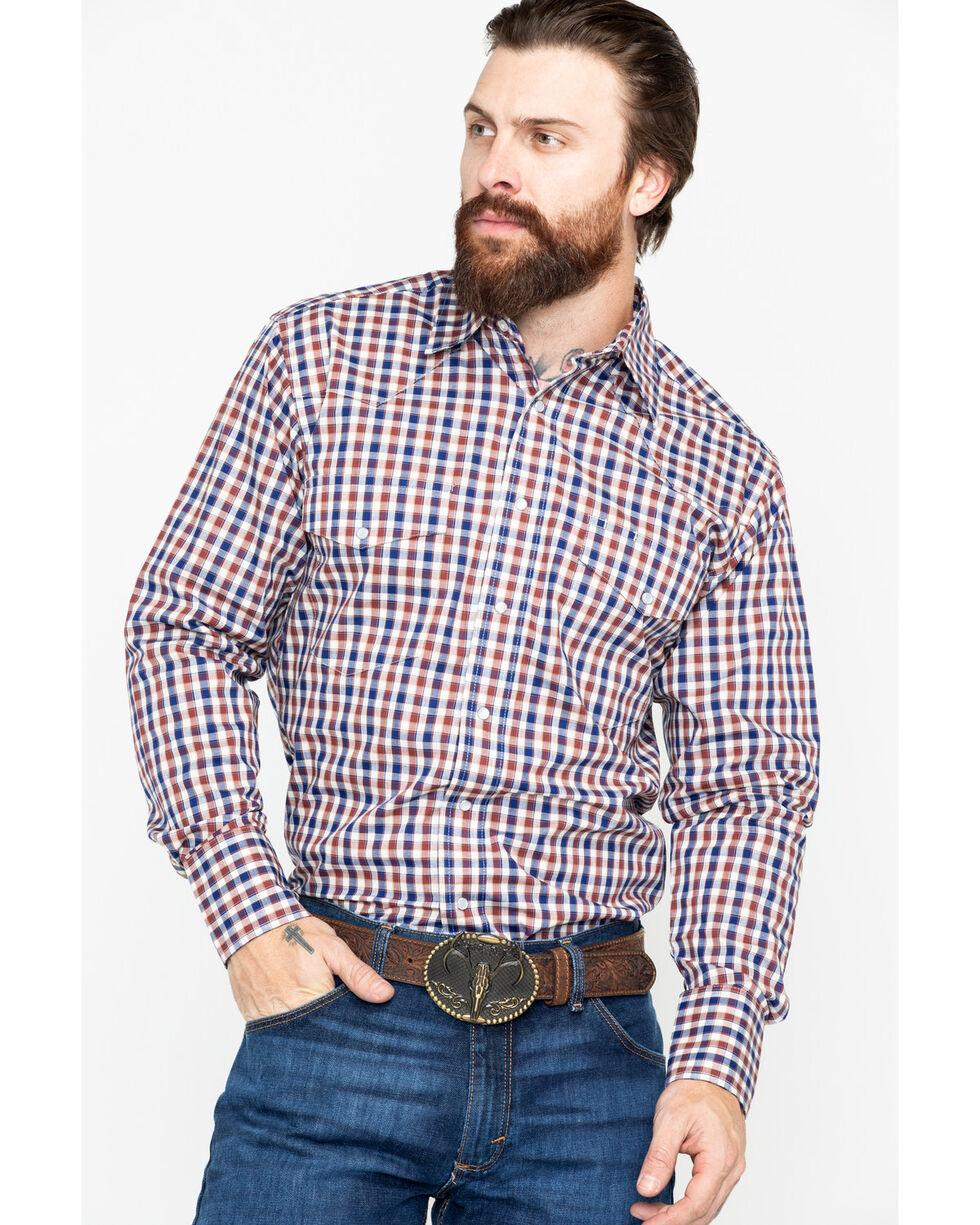 Wrangler Men's Small Plaid Wrinkle Resist Long Sleeve Western Shirt , Beige/khaki, hi-res