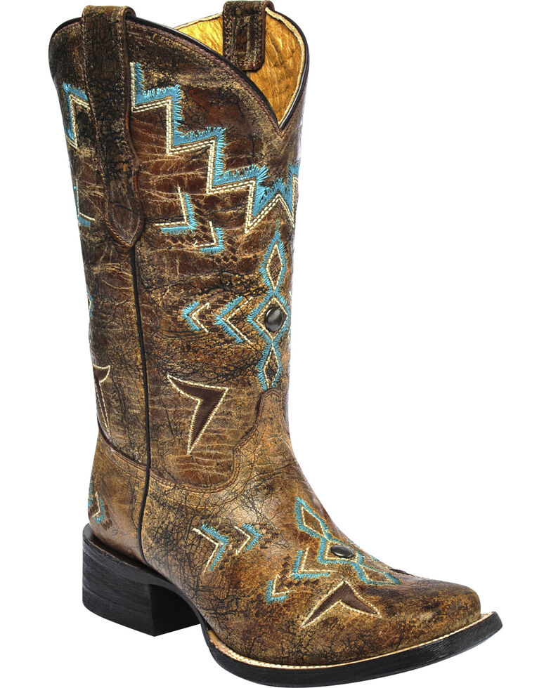 Corral Girls Studded Embroidered Cowgirl Boots - Square Toe, Bronze, hi-res