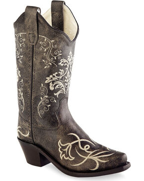 Old West Girls' Embroidered Cowgirl Boots - Snip Toe, Charcoal, hi-res