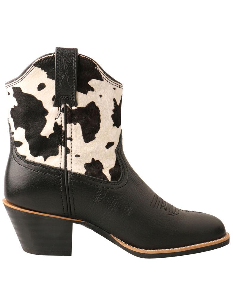 Twisted X Women's Black Cowhide Western Booties - Round Toe, Black/white, hi-res