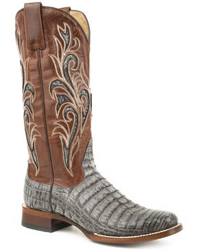 Stetson Women's Gray Clarisa Caiman Belly Skin Boots - Square Toe , Grey, hi-res
